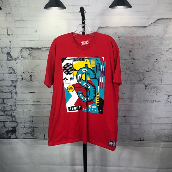 """Rock Smith """"About The Money"""" Red T- Shirt 1562"""